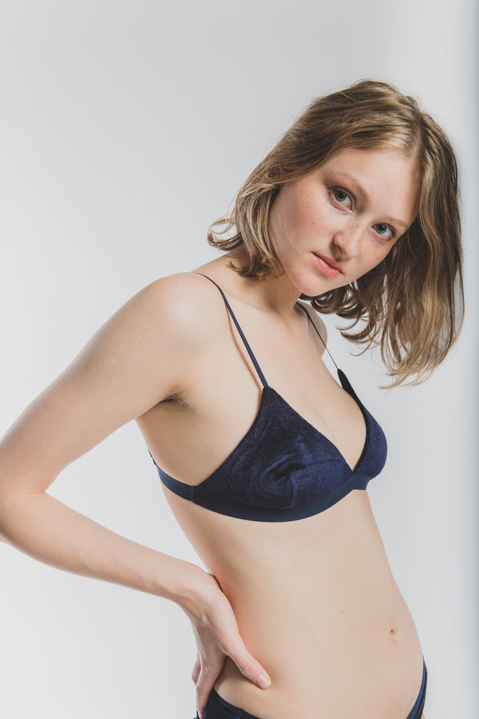 Mississippi Bra in Velours midnight blue