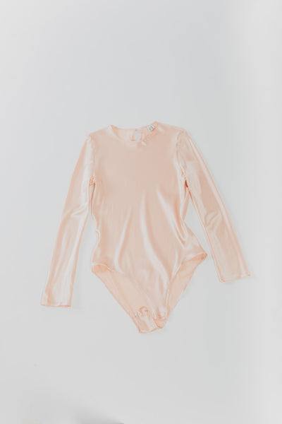 Casey Bodysuit in pink Silk Satin