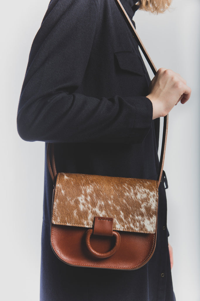 Mini logan bag in saddle brown and speckled hair