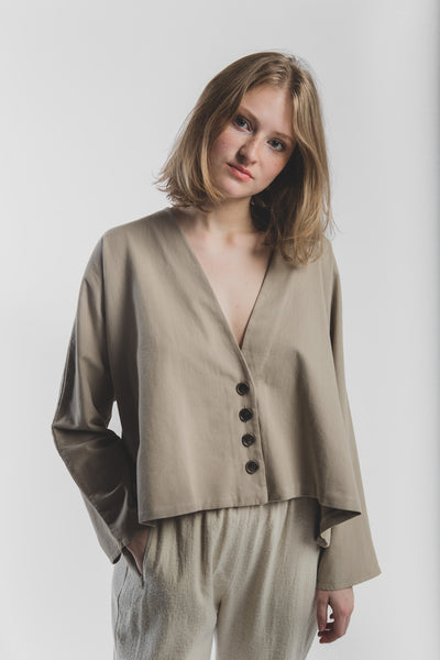 Alice wrap jacket in taupe