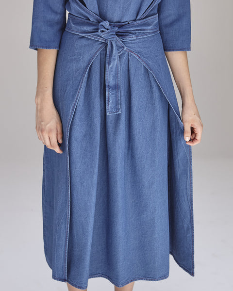 Hester Dress in Indigo
