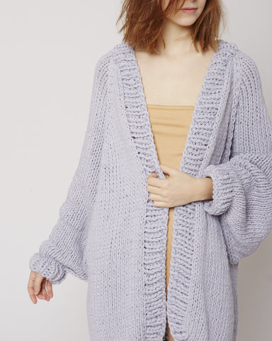 Balloon sleeve cardigan in ash grey