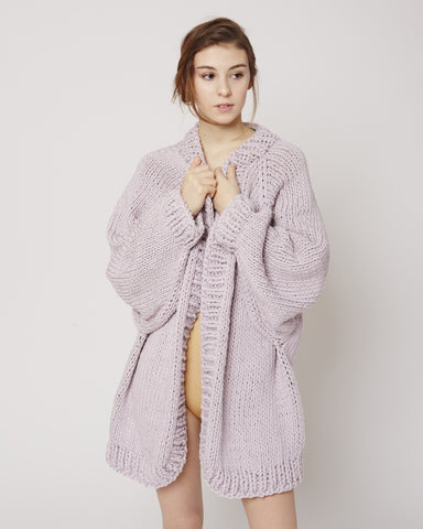 Balloon sleeve cardigan in lilac