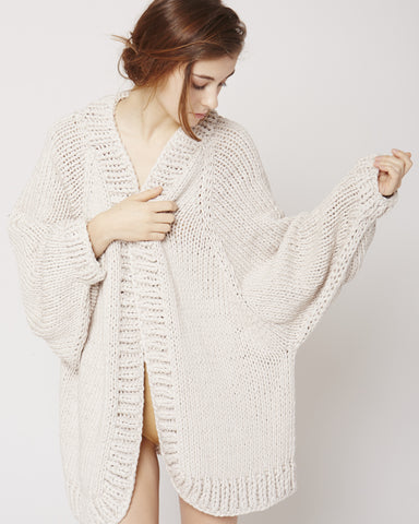 Balloon sleeve cardigan in eggshell