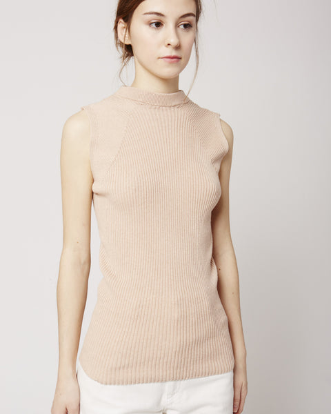 Arc rib tank top in nude