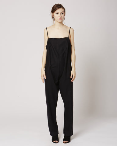 Shankar raw silk jumpsuit in Black