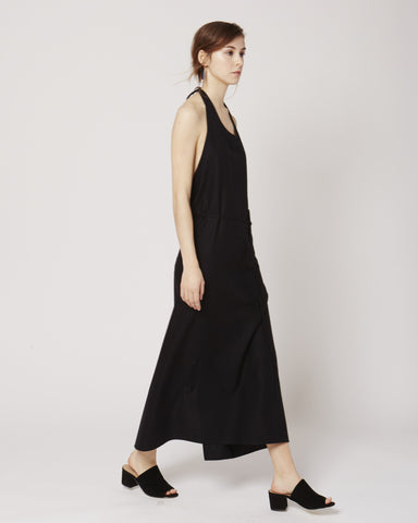 Apron raw silk dress in black