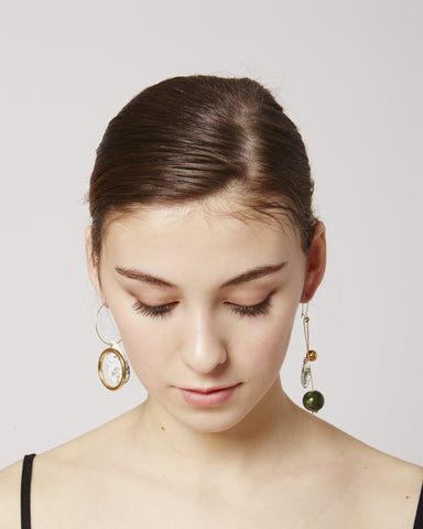 Rosa earrings in agathe & green