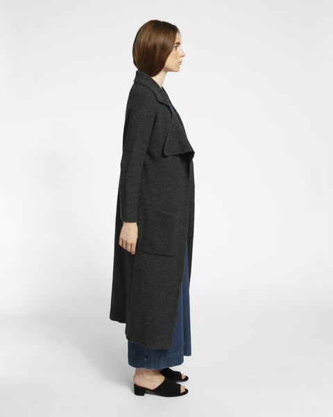 Chunky Ribbed Sweater Coat in Charcoal - Founders & Followers - Achro - 1