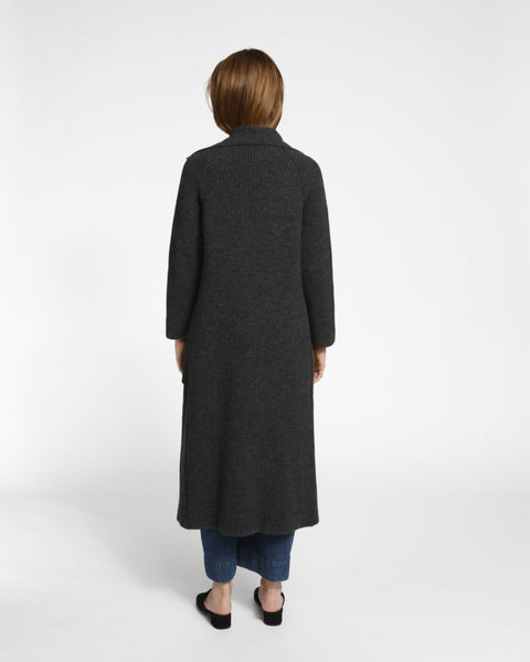 Chunky Ribbed Sweater Coat in Charcoal - Founders & Followers - Achro - 2