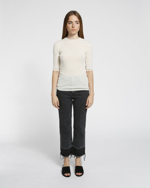 Short Sleeved Ribbed Sweater in Ivory - Founders & Followers - Achro - 2