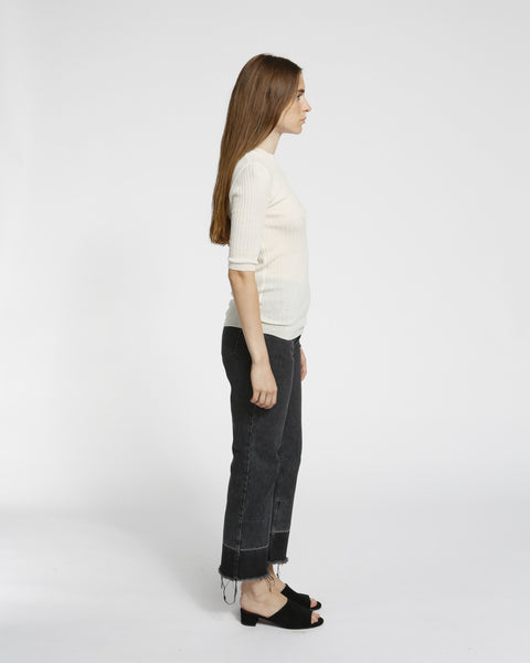 Short Sleeved Ribbed Sweater in Ivory - Founders & Followers - Achro - 3