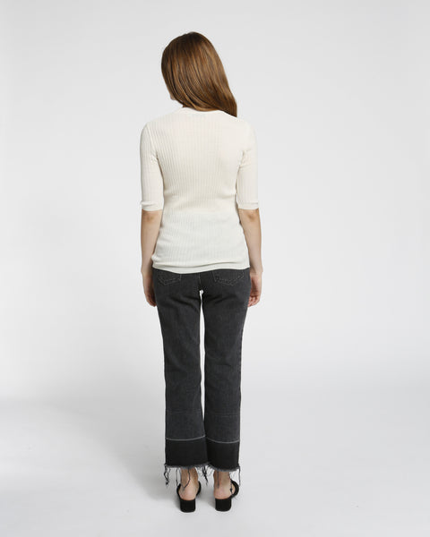 Short Sleeved Ribbed Sweater in Ivory - Founders & Followers - Achro - 4