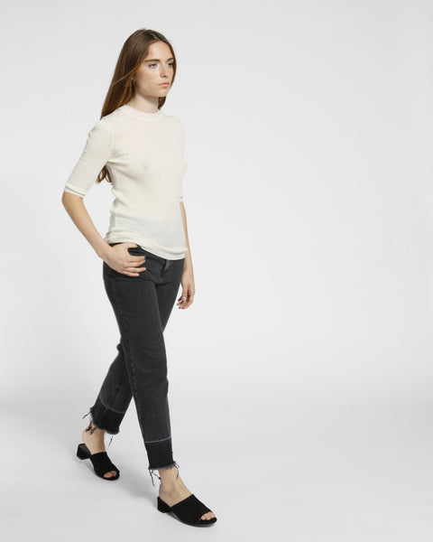 Short Sleeved Ribbed Sweater in Ivory - Founders & Followers - Achro - 5