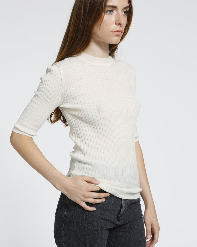 Short Sleeved Ribbed Sweater in Ivory - Founders & Followers - Achro - 1