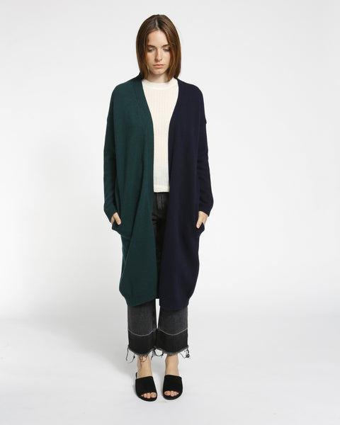 Color Block Long Cardigan in Navy/Green - Founders & Followers - Achro - 1