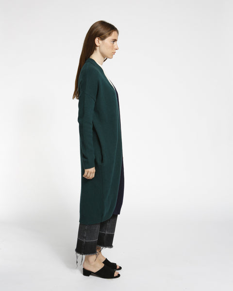 Color Block Long Cardigan in Navy/Green - Founders & Followers - Achro - 2