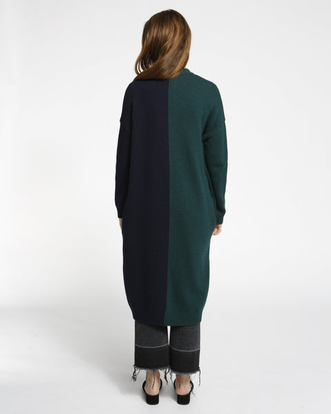 Color Block Long Cardigan in Navy/Green - Founders & Followers - Achro - 3