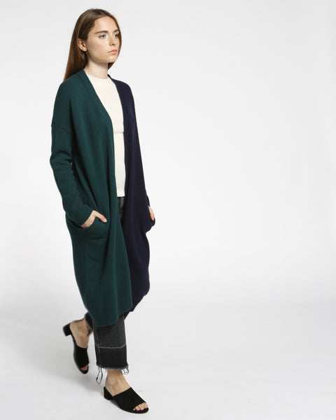 Color Block Long Cardigan in Navy/Green - Founders & Followers - Achro - 4