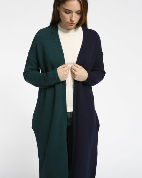Color Block Long Cardigan in Navy/Green - Founders & Followers - Achro - 5