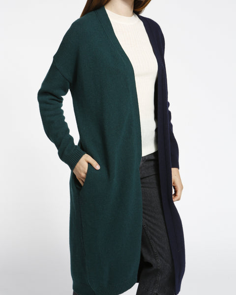 Color Block Long Cardigan in Navy/Green - Founders & Followers - Achro - 6