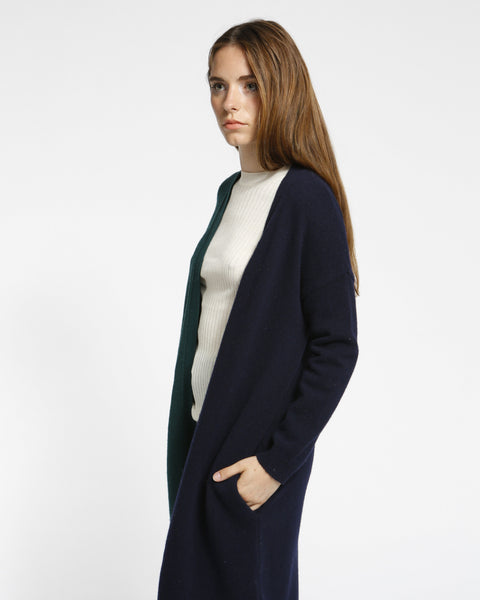 Color Block Long Cardigan in Navy/Green - Founders & Followers - Achro - 7