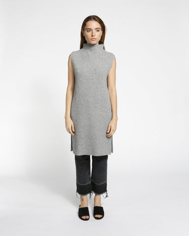 Sleeveless Ribbed Tunic in Grey - Founders & Followers - Achro - 1