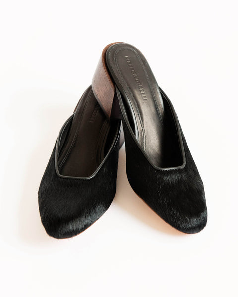 Leblon mules in black pony