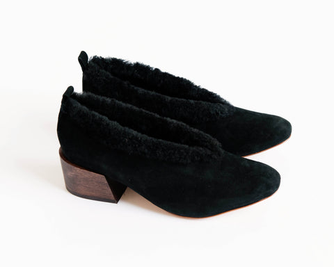 Pina ballerinas in black suede and shearling