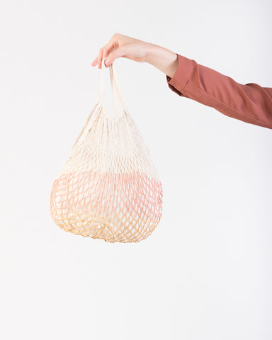 Market net tote bag in peach