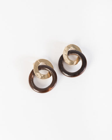 Wood classic ear pendants in chocolate