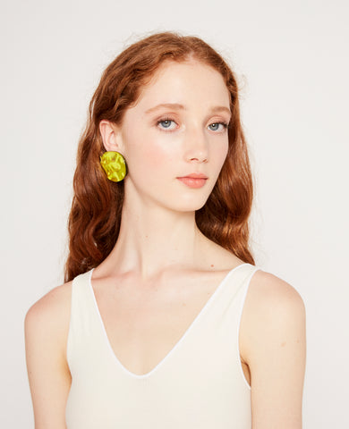 Small reflection earrings in chartreuse