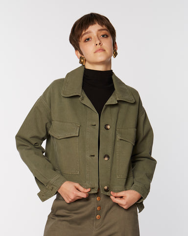 Cropped cotton jacket in khaki