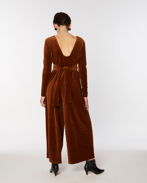 Knit velours jumpsuit in brown