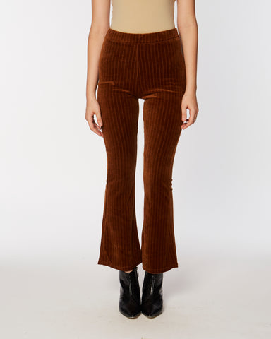 Knit velours pants in brown
