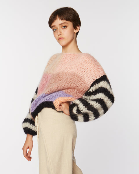 Mohair big Sweater with striped sleeves