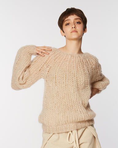 Mohair pleated Sweater in beige