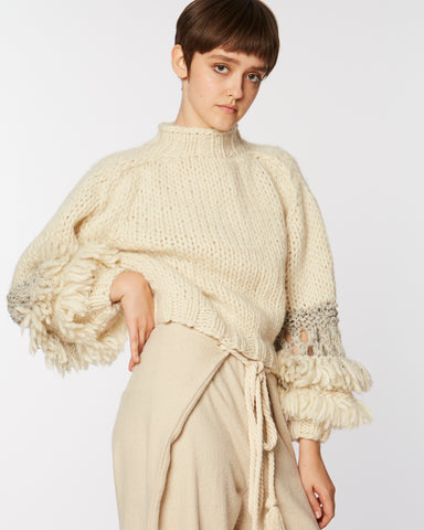 Fringed balloon sleeves sweater