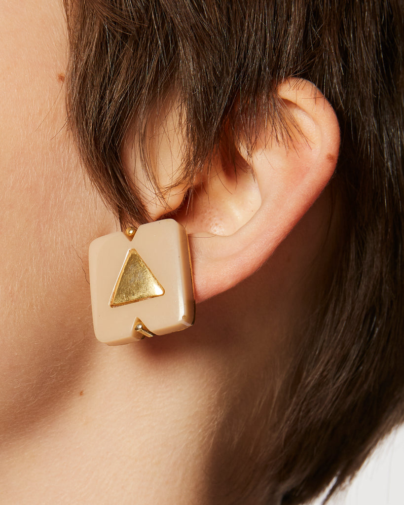 Geometric blush & gold clip-on earrings
