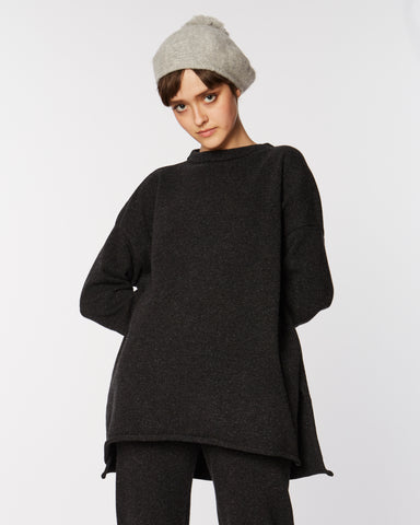 Hi-Lo Sweater in Speckle Black
