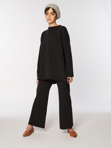 A-Line knit Pant in Speckle Black