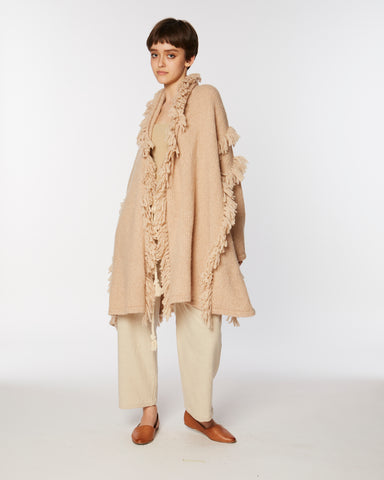Haori coat with fringes in oatmeal
