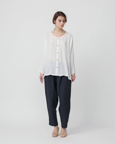 Crushed Cotton Shirt in Off-White - Founders & Followers - Revisited Matters - 1