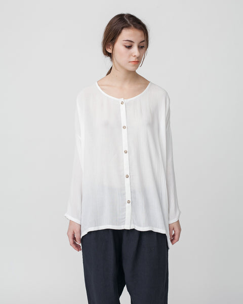 Crushed Cotton Shirt in Off-White - Founders & Followers - Revisited Matters - 5