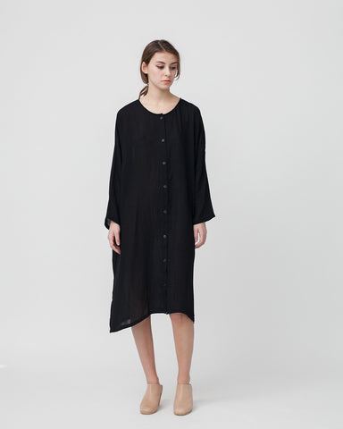 Crushed Cotton Shirtdress in Black - Founders & Followers - Revisited Matters - 1