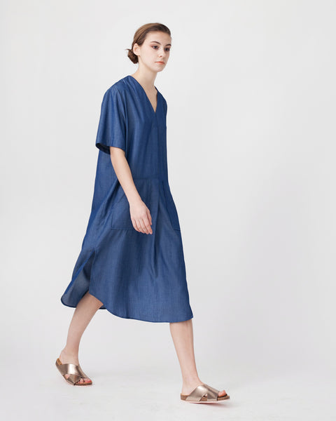 Tencil Denim Dress in Dark Blue - Founders & Followers - Achro - 4
