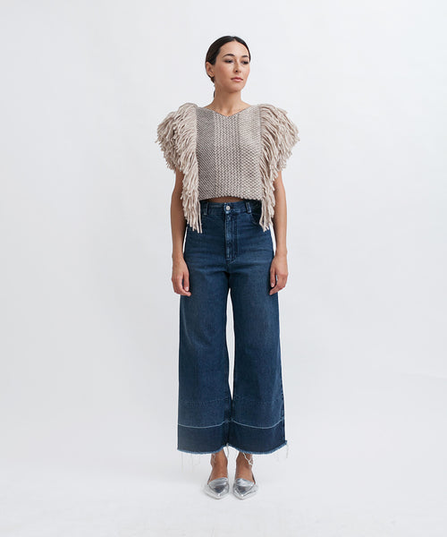 Cropped Fringed Alpaca Vest - Founders & Followers - Rachel Comey - 3