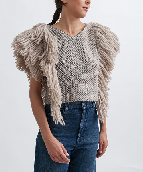 Cropped Fringed Alpaca Vest - Founders & Followers - Rachel Comey - 2