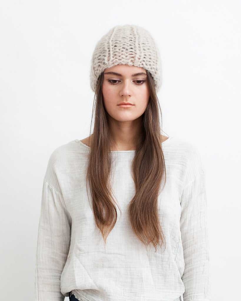Mohair Pleated Cap in Beige - Founders & Followers - Maiami - 1