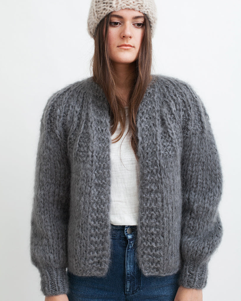 Mohair Pleated Short Cardigan - Founders & Followers - Maiami - 1